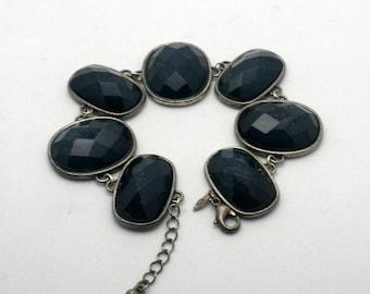 Vintage bracelet - faceted Pave cabachon stones - Stamped Avon Honor Society HS bracelet - Rustic statement piece - Bold Fashion Accessory