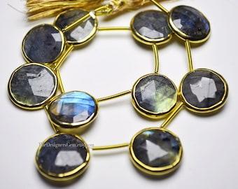 Labradorite Round Coin Briolettes with Vermeil Gold Bezel Rim 15 x 15mm