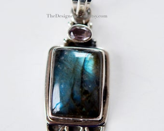 Labradorite Rectangle Antique Style Pendant 925 Sterling Silver Bezel 50x18x9mm