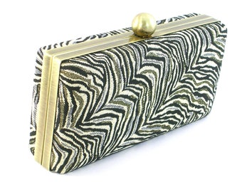 Evening Bag Clutch - Gold and Black Metalic Handbag - Box Frame Clamshell Purse - Minaudière