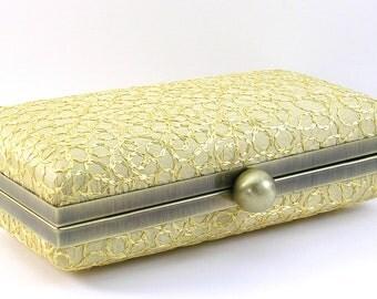 Gold Clutch Evening Bag -  Clamshell Purse -  Women's Box Frame Handmade Handbags
