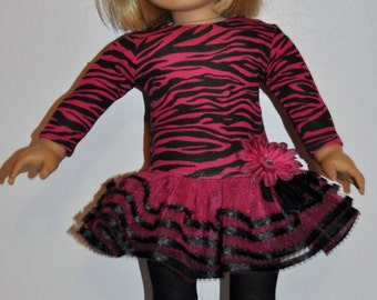 Custom made pink zebra doll dress that fits AMERICAN GIRL DOLLS