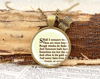 "Shakespeare ""Sonnet"" - Literature Necklace"