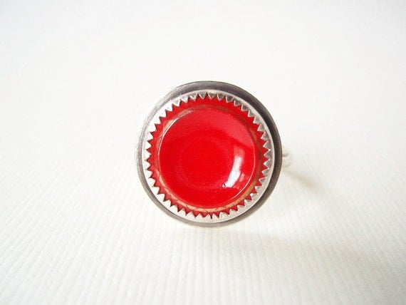 Cocktail Ring. Red Glass Vintage Button in Sterling Silver Ring. Statement Jewelry