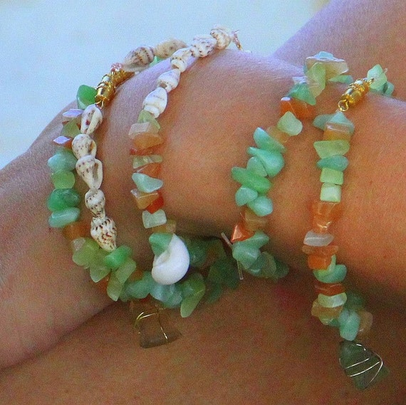 Unique Beaded Periwinkle Seashell Coloring Page: Sea Shell Bead And Sea Glass Bracelet