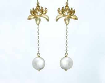 Moonlit lotus. Lotus flower and moon pearl earrings. Long gold filled earrings with coin pearl drop. bridal wedding