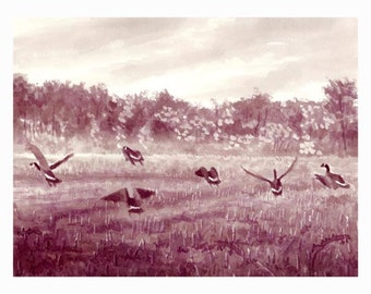 """Wine Painting - """"Geese on the flight"""""""