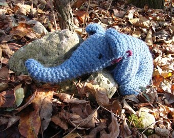 Baby Elephant Toy - Natural Knit Toy, Blue Wool - soft, cuddly hand-knit natural toy for infant and toddler