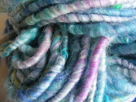 Handspun Art Yarn (Lagoon) Corespun Merino, Lamb's Locks, Faux Cashmere, Coltswold and Silk.