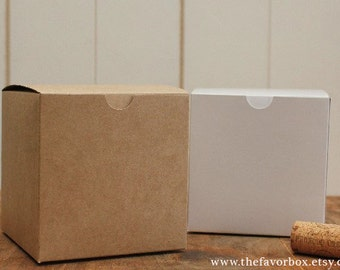 12 - 4 X 4 Favor Boxes // Gift Box // Wedding Favor Box // Kraft Box