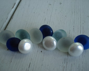 Frosted Aqua Cobalt Blue Beach Sea Glass and White Faux Pearls Cabochons Push Pins Set of 11