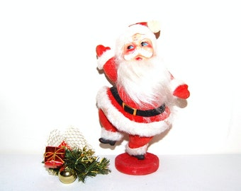 Vintage Santa Flocked and Jolly