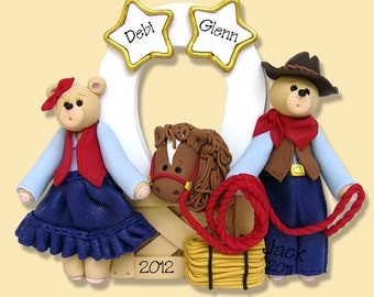 Belly Bear Cowboy Family of 2 / Couples with Horse HANDMADE POLYMER CLAY Personalized Christmas Ornament
