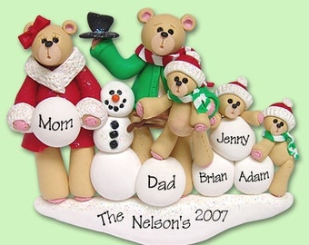 Bear Family of 5 with Snowman  HANDMADE POLYMER CLAY Personalized Christmas Ornament