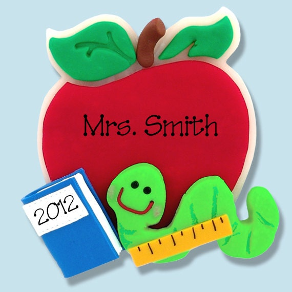 Apple Worm Teacher Apple W/bookworm Teacher