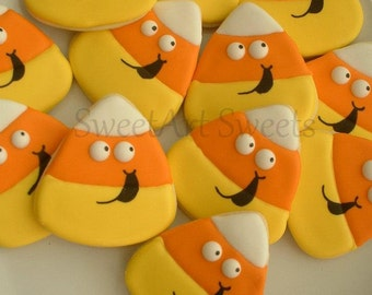 Halloween cookies - candy corn cookies - fall cookies - 1/2 dozen or 1 dozen option -  decorated cookie favors