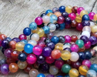 """Mixed Color Agate - 6 mm Faceted Round Beads - 14"""" Strand"""