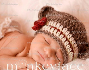 Girl Sock Monkey hat (0-3 months) made to order