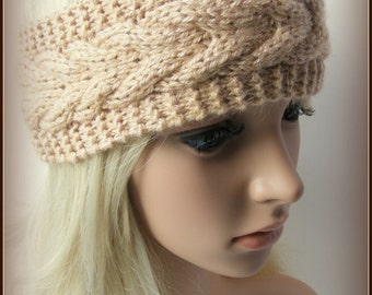 Hand Knitted Headband Ear Warmer In Light Brown Color Cable Pattern