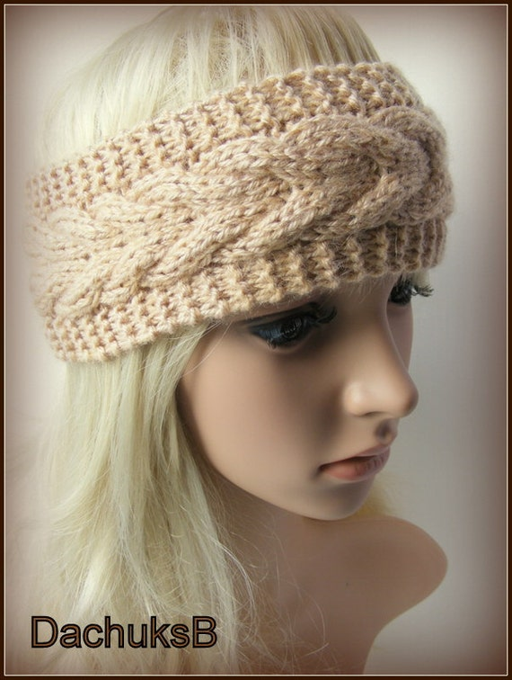 Items similar to Hand Knitted Headband Ear Warmer In Light Brown Color Cable ...