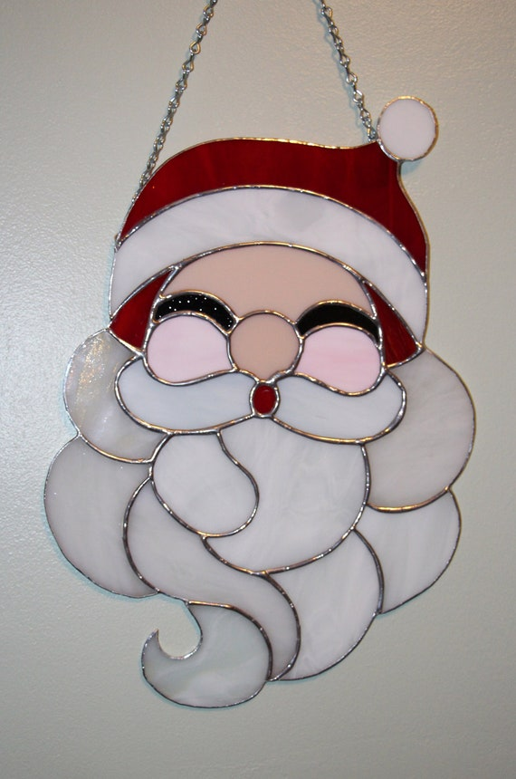 Stained glass christmas santa claus panel suncatcher by