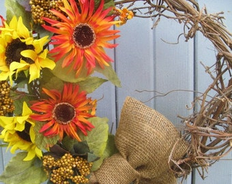 Sunflower Wreaths, Summer Wreaths, Burlap Bow, Rustic Wreath, Grapevine Wreath, Yellow Orange Door Wreath, Yellow Wreaths
