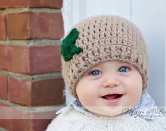 Crocheted Baby Shamrock Hat - Newborn 0-3 Months - Taupe and Hunter Green
