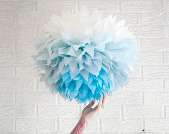 party decoration ...  JUMBO blue ombre  ... 1 Tissue paper pom //weddings // nursery // baby shower // birthday party // gender reveal //