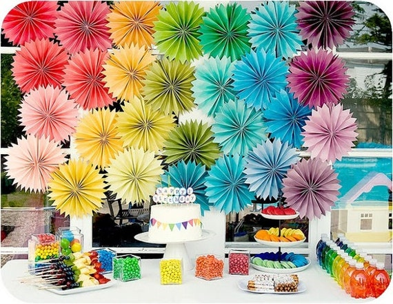 Party Decor Paper Flowers ...  24 Pomwheels .... Pick Your Colors // weddings // birthdays // party decorations