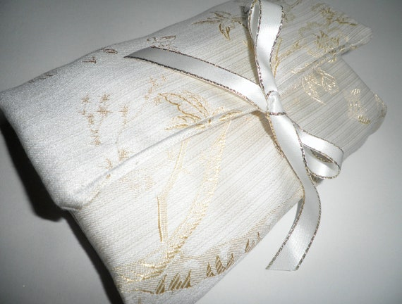 SALE Make Up Bag Ivory Cream Brocade Floral Tree Roll Up Cosmetics Case