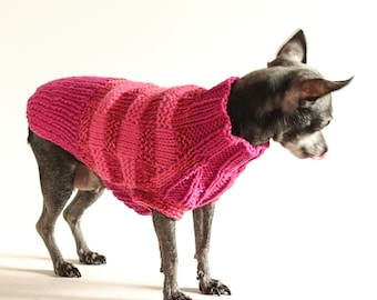 Peony Pink Haze, Basketweave Striped Dog Sweater, XXS