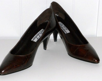Cognac Turtle High Heels Pumps Women's Shoes Dark Brown Size 6.5M JAZZ Spain NOS