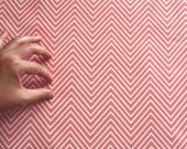 "Pink Home Decor Fabric  - ""Delicate Chevron - Light Pink""- Cotton/Linen - 1yard- 54""x36"""