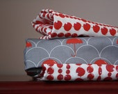 "Modern gray fabric- ""Red Umbrella"" (Fat Quarter 29""x18"") Ready to ship"