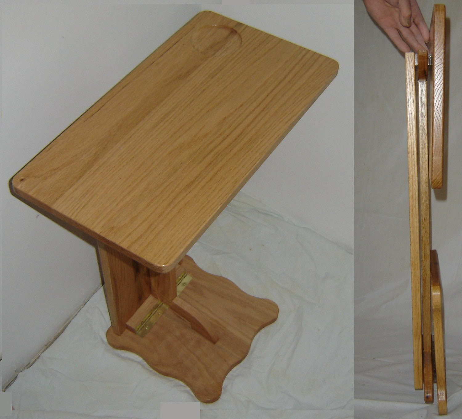 New Solid Oak Wood FOLDING Sofa Server TV RV Snack Tray