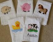 Personalized Farm Animals Burp Cloth SINGLES