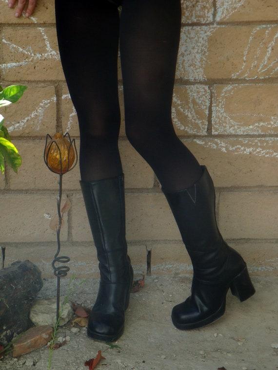SALE 90s HOT chunk heel platform calf high Black Leather Boots size 8.5