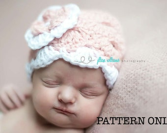 Crochet hat patterns, Scallops and holes crochet hat pattern, baby girl patterns, instant download, photo prop pattern