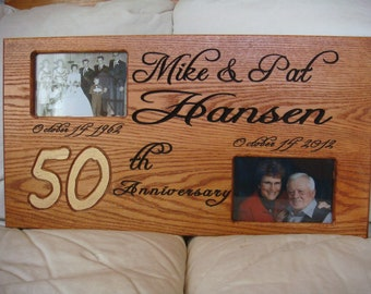 Custom carved Oak 50 th Anniversary Picture Frame, graduation, wedding birthday/ 22 by 12 inch size