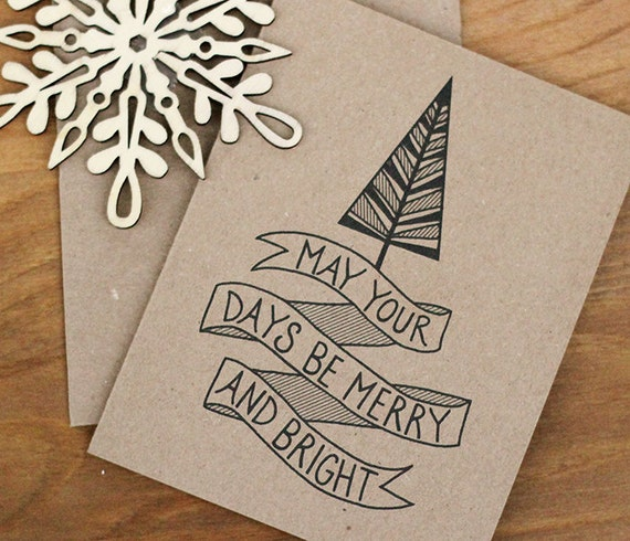 Merry and Bright Christmas Card Set of 10 - Hand Lettered Holiday Cards