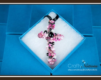 """Ebony Rose 3.5"""" Beaded Cross (Pink and Black with Pearl accents, wrapped with Silver Wire)"""
