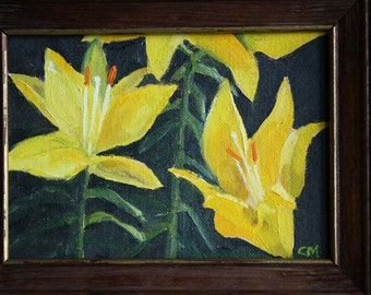 1980's Yellow Lilies Oil Painting