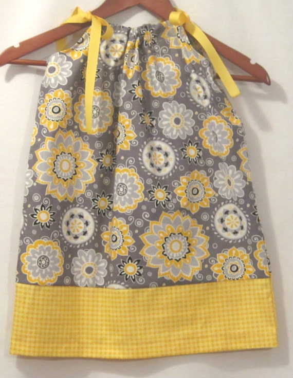 Pillowcase dress - October flare - grey and yellow -  ready to ship sizes 12 months through 10 years