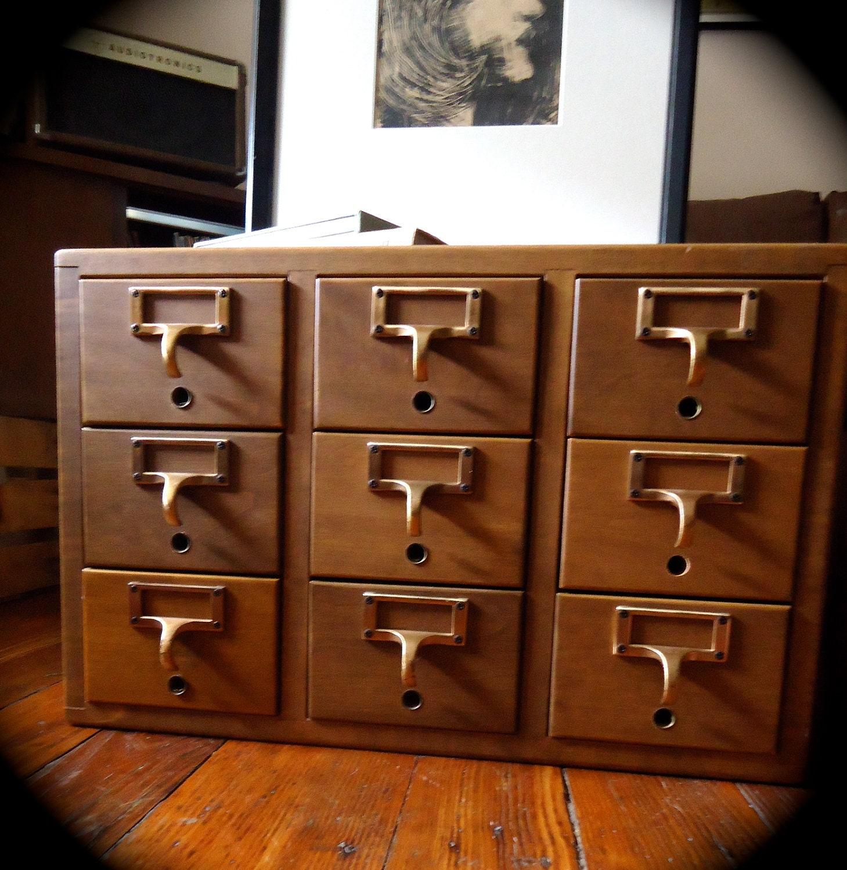 Vintage Library Card Catalog File Cabinet By Vidaliasvintage