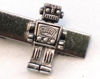 MR ROBOT - Men's Tie Bar Clip Clasp - Antique Silver - Steampunk - Retro Geekery - By GlazedBlackCherry