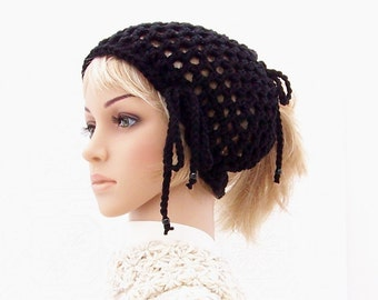 Crochet tube headband, ponytail hat - black - dread band - messy bun hat, gift for her, gift for him, handmade by Sandy Coastal Designs