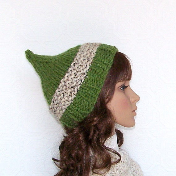 Pixie hat - Elf hat - hand knit hat -  grass green - Winter Fashion Winter Accessories by Sandy Coastal Designs - ready to ship