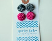 SALE ITEM: Raspberry and Gray Earring Duo