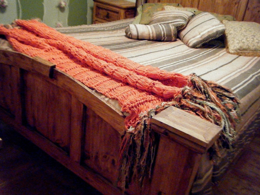 Salmon Coral Colored Decor Throw With Fringe By Cricketshome