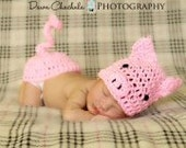 Newborn baby pig butt  cover hat set crochet Newborn photo props photography girl